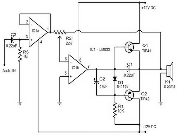 15 w class b audio amplifier