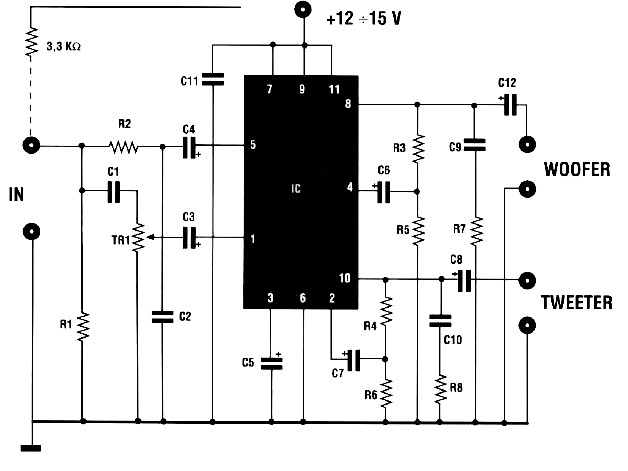 Audio amplifier with crossover Amplifier Circuit Design