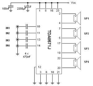40W 4 channel audio amplifier