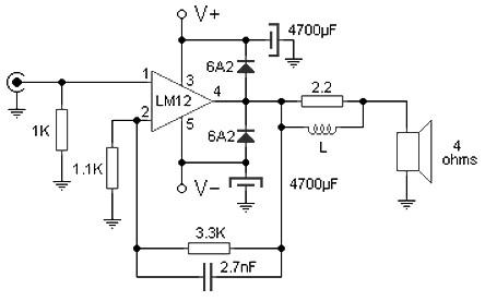 100 W audio amplifier based LM12CLK - Amplifier Circuit Design