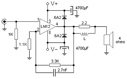 100 W amplifier circuit