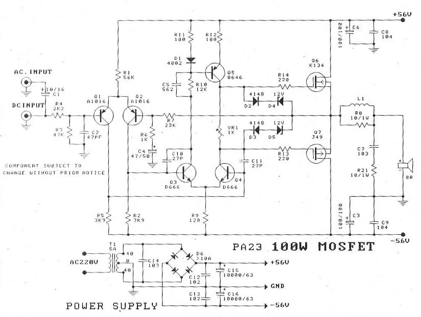 100w power audio amplifier diagram based fet k134 and j49100w mosfet amplifier diagram