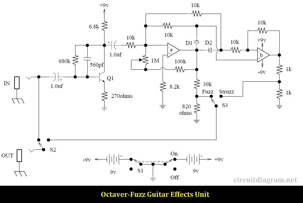 Octaver-Fuzz Guitar Effects circuit diagram