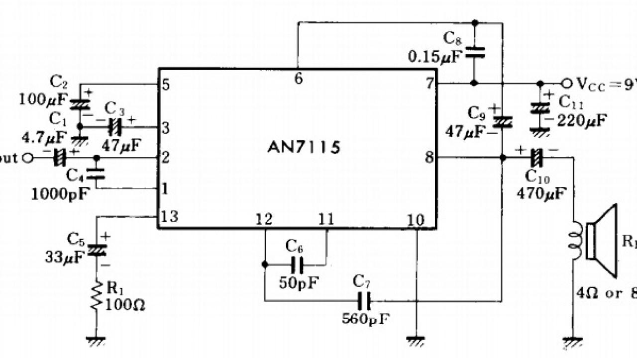 Mini Audio Amplifier using IC AN7115 - Amplifier Circuit Design