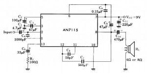 mini audio amplifier AN7115 circuit