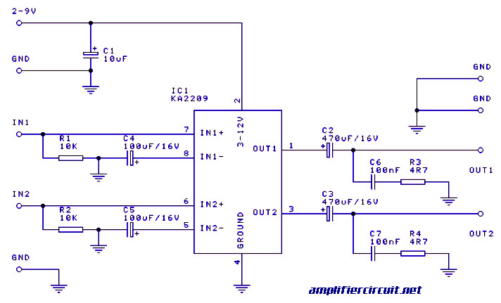 2x1w Stereo Amplifier With Ic Ka2209 Circuit Diagram - Wiring ... on