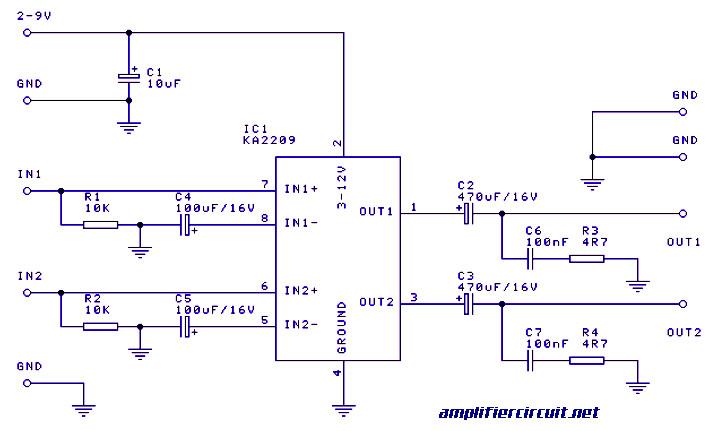 1 watt stereo audio amplifier based ic ka2209 amplifier circuit design rh amplifiercircuit net