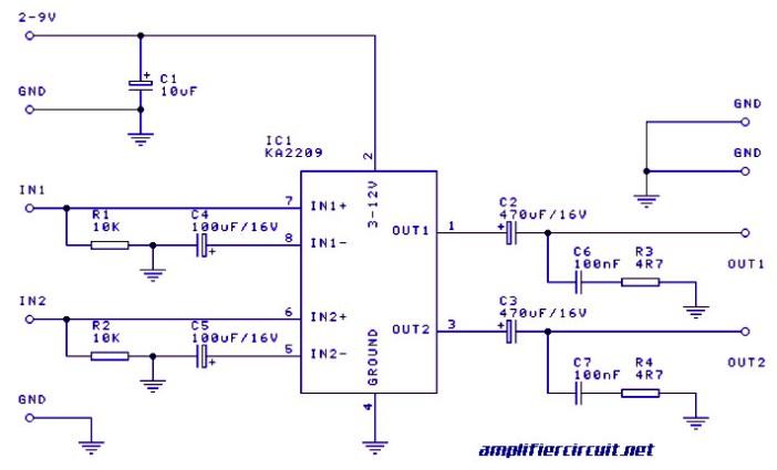1 Watt Stereo Audio Amplifier based IC KA2209 - Amplifier