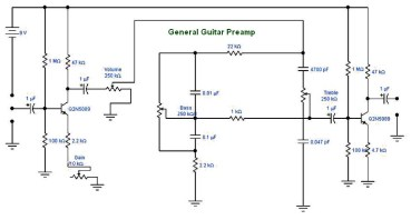 Transistor Guitar Preamp Schematic