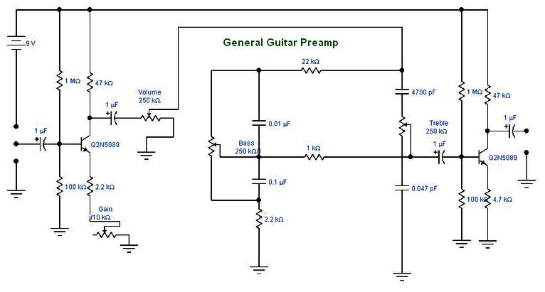 guitar preamp archives amplifier circuit designdiy guitar transistor preamp