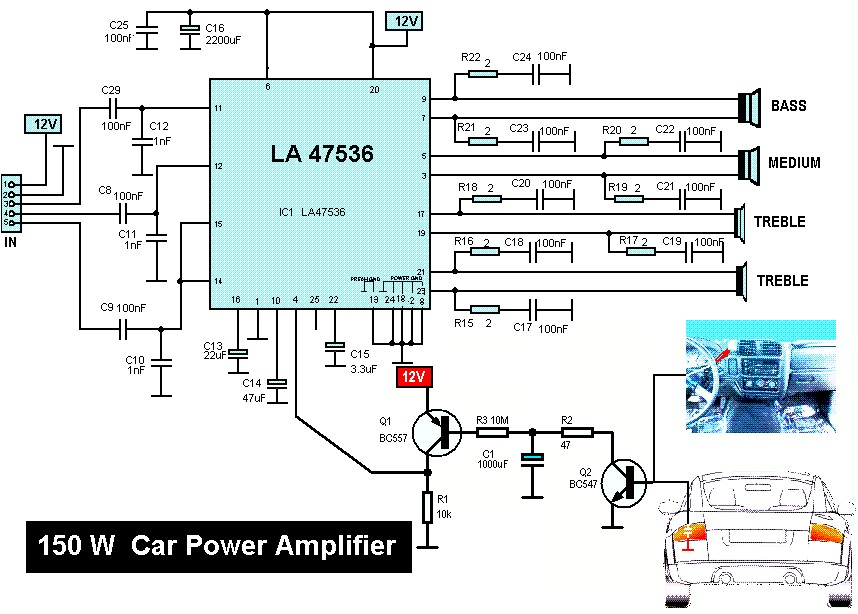 150W Car Audio Amplifier Circuit