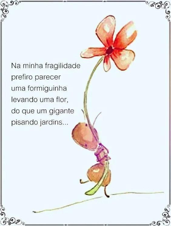 Uma formiguinha levando uma flor