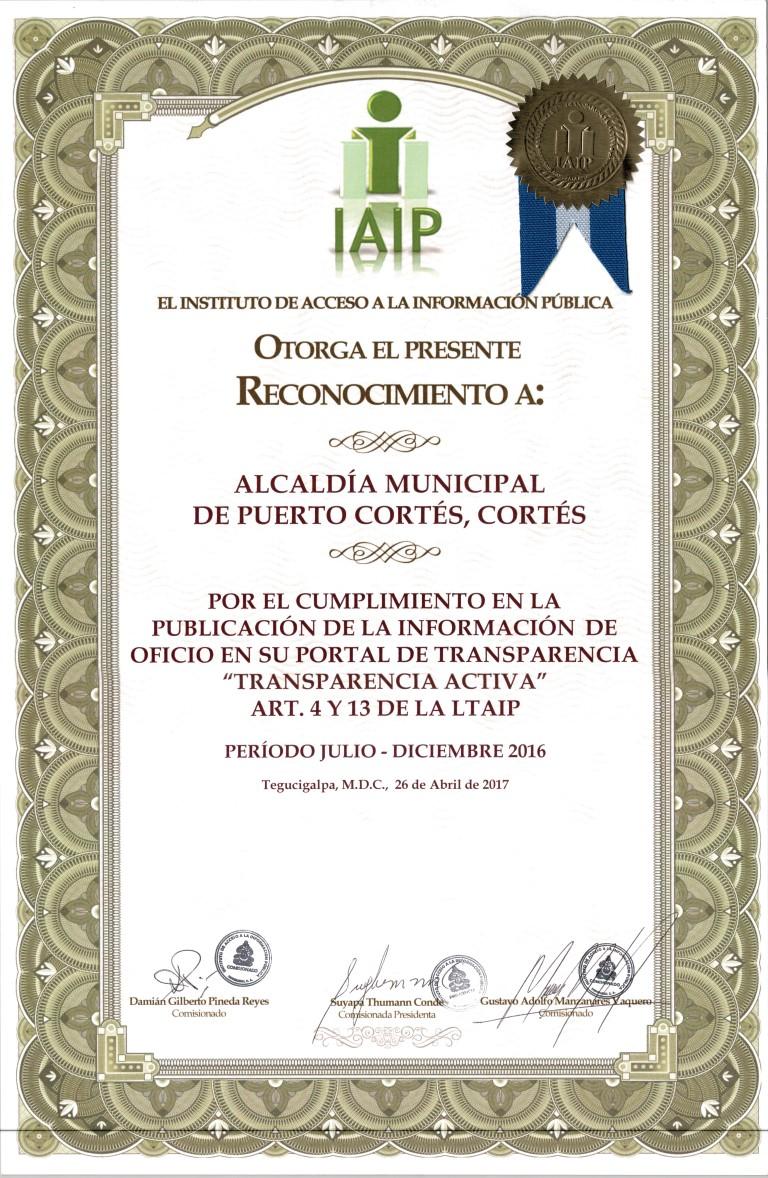 Reconocimiento por Cumplimiento 100% publicación de Informacion de Oficio según Ley de Transparencia - IAIP -Semestre 2- 2016