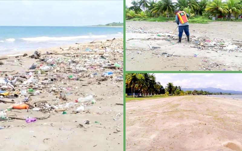 Continuamos limpiando nuestras playas para mitigar el impacto ambiental que provoca la basura que viene de Guatemala.