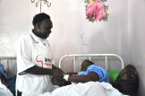 Rebecca is attended by a nurse at Narok hospital