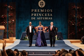Amref Health Africa Group CEO Dr Githinji Gitahi, End FGM Global Ambassador and Amref Health Africa in Spain Board Chair Alvaro Rengifo at the Princess of Asturias Awarrds Ceremony in Oviedo, Spain