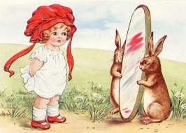 Rabbits holding mirror