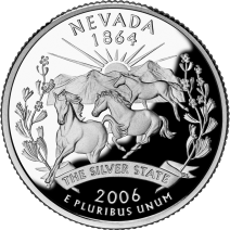 """Nevada State Quarter"", 2006, United States Mint, circulating coinage"
