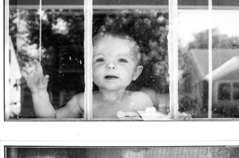 Ezra looking out the bedroom window.