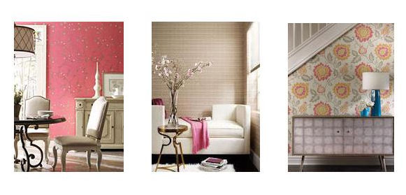 Wall papers: Deep Pink Floral, Subtle Striped, and Large Floral Pattern.