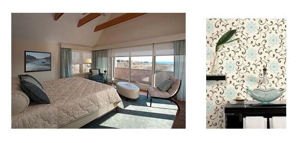 RI Master Bedroom. Blue & White Floral Wallpaper