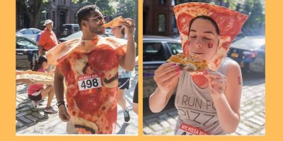 Man and woman runners dressed as pizza for NYC Pizza run