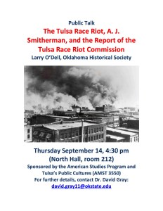 "Lecture: Larry O'Dell on ""The Tulsa Race Riot, A.J. Smitherman and the Report of the TRR Commission @ North Hall 212"