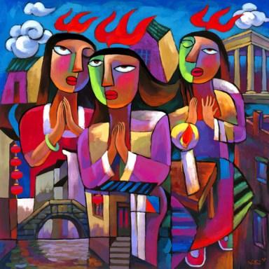 Pinksteren, schilderij van He Qi (www.heqigalleries.com)