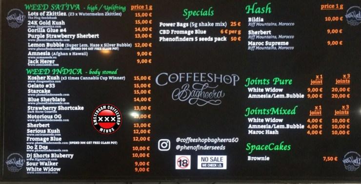 Coffeeshop Bagheera menu