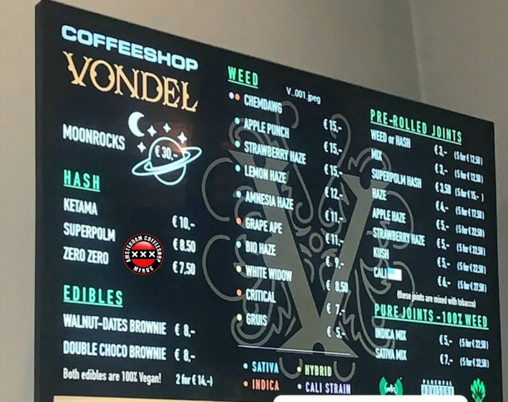 Coffeeshop Vondel menu