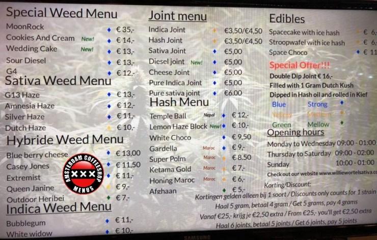 Willie Wortles Sativa Coffeeshop menu