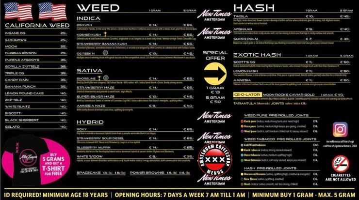 Coffeeshop new times menu