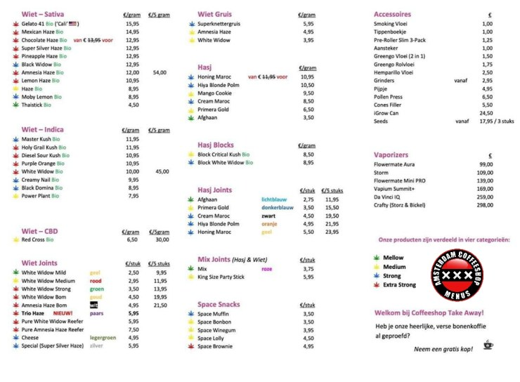 Takeaway coffeeshop menu