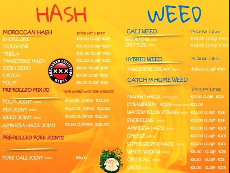 Catch33 coffeeshop menu