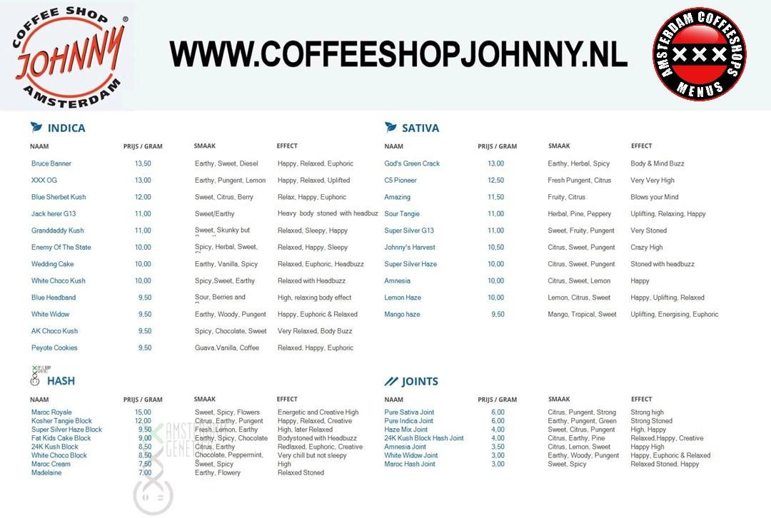 Coffeeshop Johnny menu