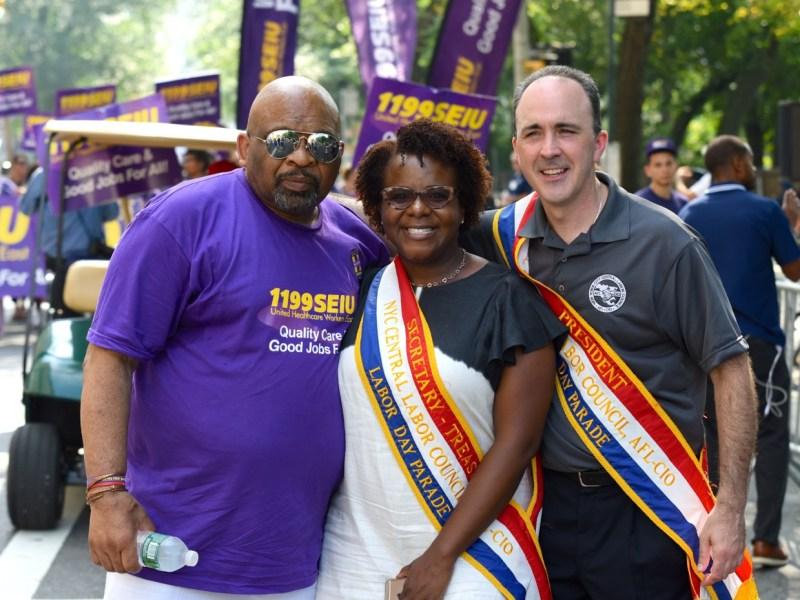 George Gresham of 1199SEIU with Secretary-Tresurer, Janella Hinds and President Vincent Alverez of City Central Labor Council (219200)