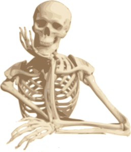 Skeleton waiting for a delivery from PostNL