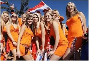 A group of Dutch women wearing Bavaria beer dresses during the South Africa world cup