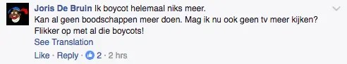 Facebook comment about boycotting RTL due to Zwarte Piet
