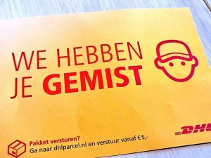 DHL 'you were not at home' notice in Dutch