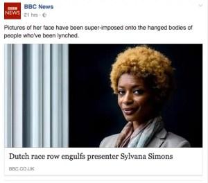 Sylvana Simons featured on the BBC News website due to Dutch race row