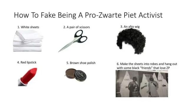 Fake Pro-Zwarte Piet Activist instructies