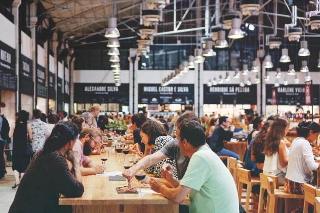 People eating in Foodhallen Amsterdam