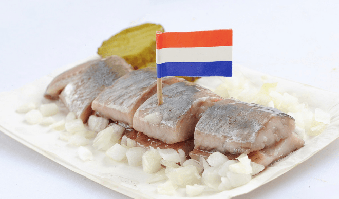 Herring with onion and pickles and Dutch flag, dutch foods in Amsterdam