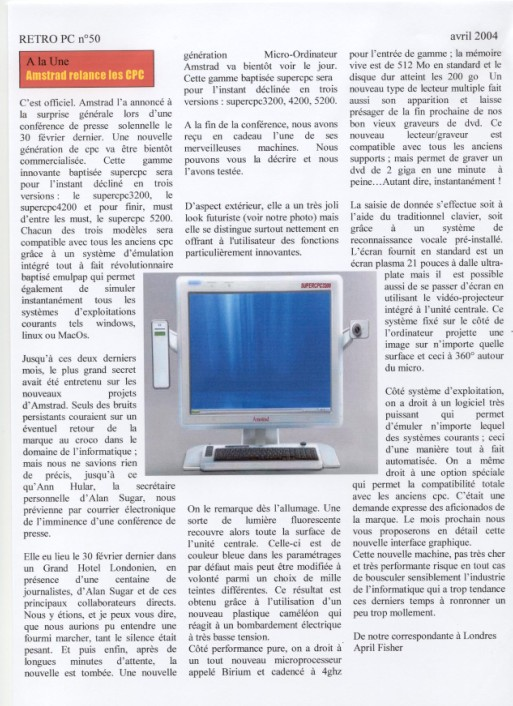 Nouveau Super CPC (retro PC n°50 – Avril 2004)