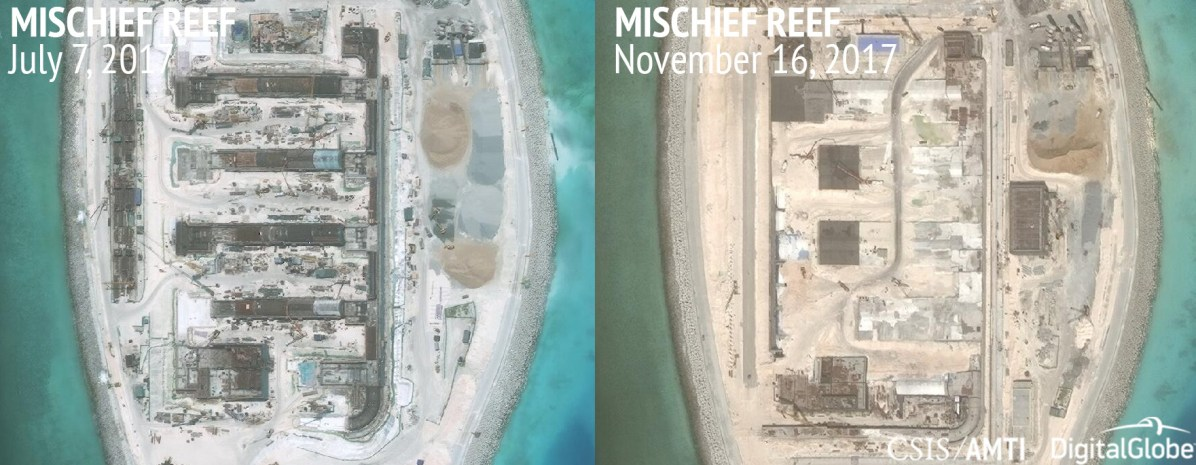 Mischief Reef, July 7 and November 16, 2017