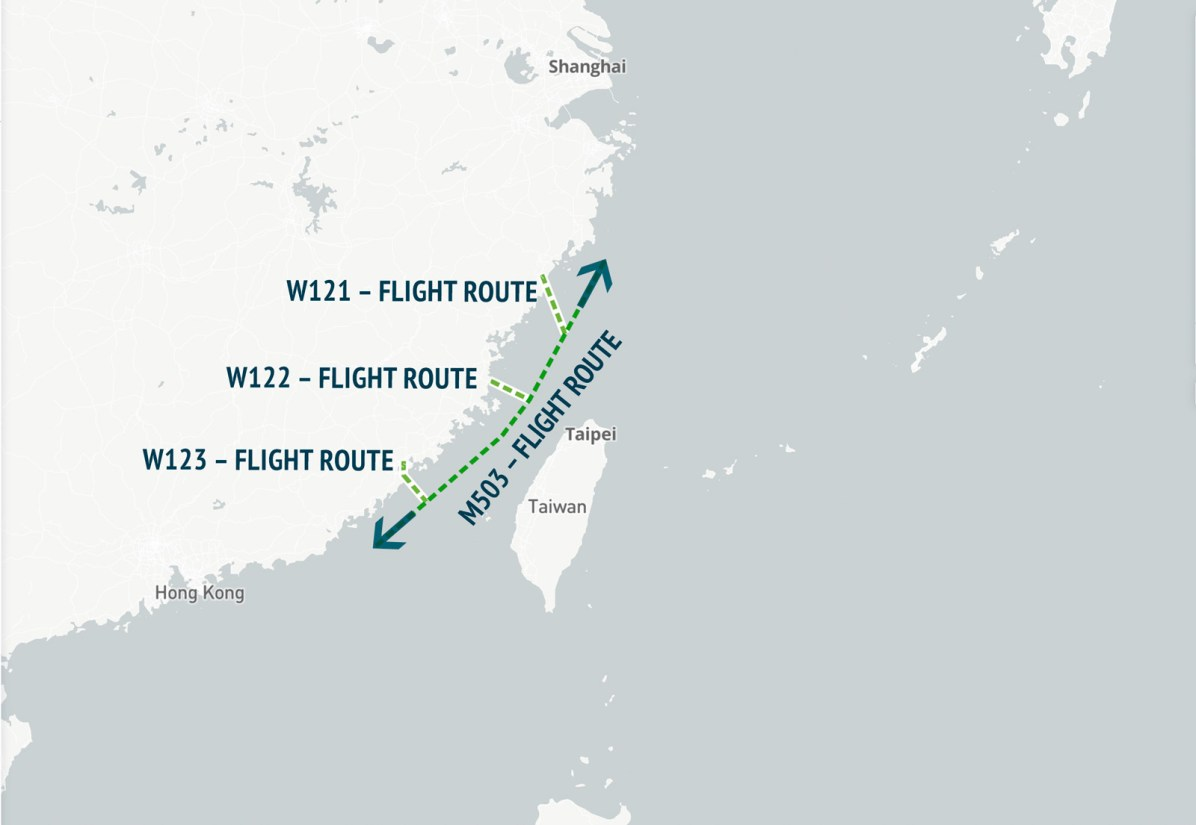 China's Civil Aviation Administration announced revisions to M503 on January 4, 2018. In addition to adding extension routes W121, W122, and W123, it cleared aircraft to fly northward along the previously existing M503.