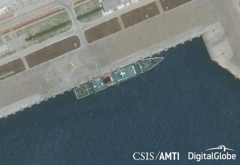 A Zhongyang-class CCG patrol ship, docked at Subi Reef on April 28, 2018.