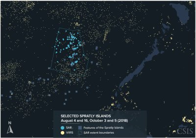 SAR and VIIRS data matched over a section of the Spratly Islands in August and October 2018.