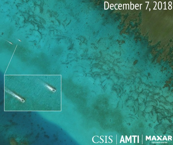 Two probable clam boats on the northeast side of Scarborough Shoal, December 7, 2018.